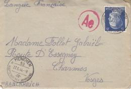 25 Pfg Hitler Sur Lettre Censurée De 1944 Pour La France - Alemania