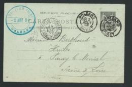 Entier Yvert 89- CP5  Oblitéré  Orléans - Loiret   4/08/1898   - Raa3210 - 1877-1920: Semi-Moderne