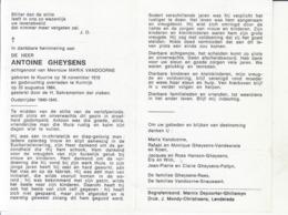 Antoine Gheysens (1919-1984) ~ Oudstrijder (1940-1945) - Images Religieuses
