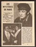 CINEMA 1962 - RESUME PITCH Du FILM LES MYSTERES De PARIS - JEAN MARAIS DANY ROBIN RAYMOND PELLEGRIN PIEERE MONDY - Sonstige