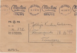 Finland 1957 - Official Postal Cover With Mechanical Cancellation Advertising Macaroni - Oficiales