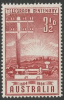 Australia. 1954 Australia Telegraph System Centenary. 3½d MNH. SG 275 - 1952-65 Elizabeth II : Pre-Decimals