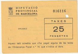 TICKET - ENTRADA / DIPUTACIO DE BARCELONA - (museu) - Año ? - Tickets - Entradas