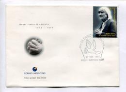 MADRE TERESA DE CALCUTA 1910-1997. ARGENTINA 1997 ENVELOPE FDC PRIMER DIA -LILHU - Mutter Teresa