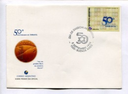 """50° ANIVERSARIO DE ISRAEL """"SER UN PUEBLO LIBRE EN NUESTRA TIERRA"""". ARGENTINA 1998 ENVELOPE FDC PRIMER DIA -LILHU - Judaísmo"""