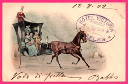 Illustration Italienne - Calèche - Cocher - Attelage - Animée - Oblit. Hotel Victoria F. MERLO Naples - 1902 - Illustratori & Fotografie