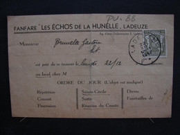 Pu. 88. Carte Postale De Convocation à La Fanfare Les échos De La Hunelle à Ladeuze En 1947 - Programas
