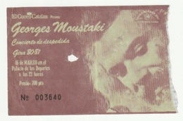 TICKET - ENTRADA / GEORGES MUSTAKI - GIRA 80-81 - BARCELONA - Tickets - Entradas