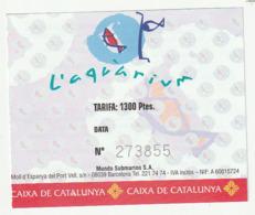 TICKET - ENTRADA / L'AQUARIUM - BARCELONA - AÑO? - Tickets - Entradas