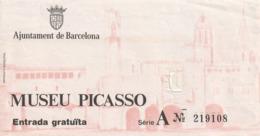 TICKET - ENTRADA / MUSEU PICASSO - Año? - Tickets - Entradas