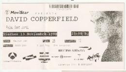 TICKET - ENTRADA / DAVID COPPERFIELD - BARCELONA - 1998 - Tickets - Entradas