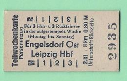 BRD - Pappfahrkarte (Reichsbahn)  : Teilwochenkarte Engelsdorf - Leipzig - Trenes