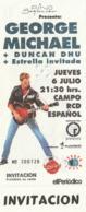 TICKET - ENTRADA / GEORGE MICHAEL - 1989 - CAMPO RCD ESPAÑOL - BARCELONA - INVITACION - Tickets - Entradas
