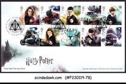 GREAT BRITAIN - 2018 HARRY POTTER / MOVIE CHARACTERS 10V FDC - 2011-... Decimal Issues
