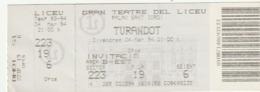 TICKET - ENTRADA / GRAN TEATRE DEL LICEU - TURANDOT - 1994 - Tickets - Entradas
