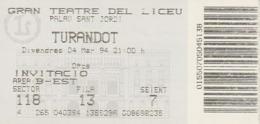 TICKET - ENTRADA / GRAN TEATRE DEL LICEU - TURANDOT - 1990 - Tickets - Entradas