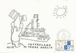 """TAAF - Dumont D'Urville-T.Adélie: Carte """"L'Astrobale"""" Illustrée PE Victor Avec Timbre N°157 Douguet - 01/03/1992 - Brieven En Documenten"""