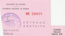 TICKET - ENTRADA / PATRONATO NACIONAL DE MUSEOS - MUSEO DEL PRADO  ... Año 198¿? - Tickets - Entradas