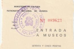 TICKET - ENTRADA / PATRONATO NACIONAL DE MUSEOS - FUNDACIONES VEGA - INCLAN   ... Año 198¿? - Tickets - Entradas