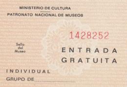 TICKET - ENTRADA / PATRONATO NACIONAL DE MUSEOS - ... Año 198¿? - Tickets - Entradas