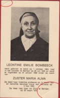 Zuster Nonneke Soeur Leontine Bombeeck Aalst Berlaar Image Mortuaire Doodsprentje Bidprentje - Devotieprenten