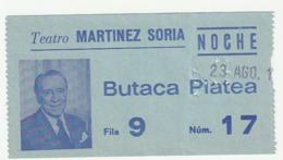 TICKET - ENTRADA / TEATRO MARTINEZ SORIA - BARCELONA - AÑO 19 7? 8? - Tickets - Entradas