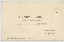 Carte De Visite D'Henry Buguet Journaliste Et Dramaturge . Caricature D'Alfred Choubrac Et Jeu De Mots Laid. - Cartes De Visite