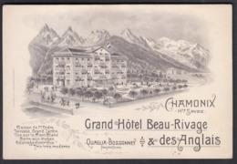 CPA 74 - CHAMONIX, Grand Hotel Beau-Rivage & Des Anglais - Carton Publicitaire De L'hôtel - 140 Mm X 95 Mm - Chamonix-Mont-Blanc