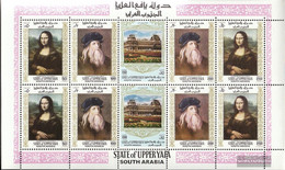 Aden - Upper Yafa 23A-27A Sheetlet (complete Issue) Unmounted Mint / Never Hinged 1967 Paintings Out The Louvre - Yemen