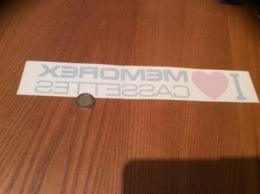 AUTOCOLLANT, Sticker «I Love MEMOREX CASSETTES» (cœur) - Autocollants