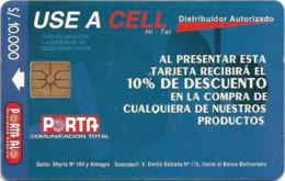 Ecuador - Porta - Use A Cell (Blue), 10.000Sucre, 50.000ex, Used - Ecuador