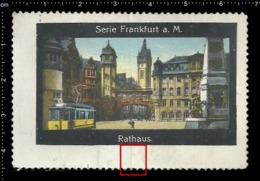 Old Poster Stamp Cinderella Reklamemarke Erinnofili Vignette Rathaus Frankfurt Town Hall Tramway Straßenbahn. - Cinderellas