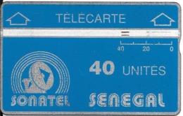 CARTE-HOLOGRAPHIQUE-SENEGAL-40U-SONATEL-V°N° Envers-N°012B00258-R° Bandes Argent/H1mm-B 1mm -UTILISE-TBE - Sénégal