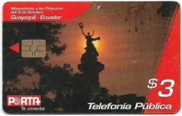 Ecuador - Porta - Monumento A Los Próceres, Chip Gem5 Red, 3$, Used - Ecuador