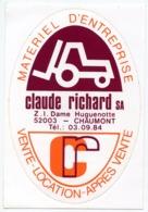 AUTOCOLLANT CLAUDE RICHARD SA 52003 CHAUMONT MATERIEL D'ENTREPRISE - Stickers