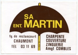 AUTOCOLLANT SA ENT. MARTIN FG. DE RECLANCOURT CHAUMONT - Autocollants