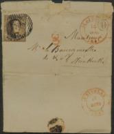 "N°7 P105 St-Nicolas 15 Mars 1851 Nieuwkerken Met Postbus ""U"" La Clinge=De Klinge+CC Correspondane Cantonale - 1851-1857 Medallones (6/8)"