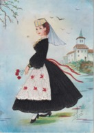 CPA Abruzzo - Costume Regionale - Carte Brodée Signée Elsi - Brodées