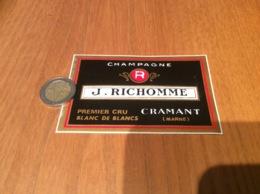 AUTOCOLLANT, Sticker «CHAMPAGNE J. RICHOMME - CRAMANT (MARNE)» - Autocollants