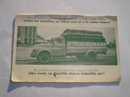 PAS COURANT !! CARTON PUBLICITAIRE BRASSERIE MOEREMANS BRUXELLES ANDERLECHT - CAMION BRASSEUR BIERE BOUTEILLE - Alimentaire