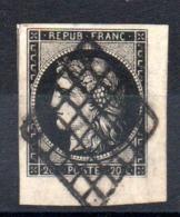 SUPERBE - YT N° 3a Coin De Feuille Signé Brun - Cote : 70,00 € - 1849-1850 Cérès