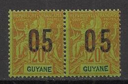 Guyane - 1912 - N°Yv. 68A - Variété Chiffres Espacés Tenant à Normal - Neuf Luxe ** / MNH / Postfrisch - French Guiana (1886-1949)