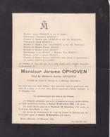 STAVELOT LIEGE BINSTA Jérôme OPHOVEN Veuf OPHOVEN  1832-1916  Faire-part Mortuaire Familles REGOUT CLOSSET - Décès