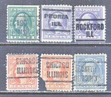 U.S. 498 +   Perf. 11   (o)   ILLINOIS    1917-19  Issue - Precancels