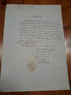 1857 BORDIGHERA MILITARIA CERTIFICAZIONE SERVIZIO ESERCITO IMPERO FRANCESE - Documenti