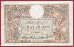 """100 Francs """"Luc Olivier Merson"""" Du 21/12/1933.AO ---F/TTB+---ALPH.B.42338 - 1871-1952 Anciens Francs Circulés Au XXème"""