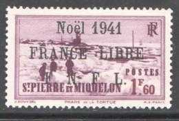 Phare De La Tortue 1,60 Fr  Surchargé «Noël 1941 France Libre» En Noir Yv 224a * Signé A. Brun - St.Pierre & Miquelon
