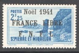 Langlade 2,25 Fr  Surchargé «Noël 1941 France Libre» En Noir Yv 227a * Signé A. Brun - St.Pierre & Miquelon