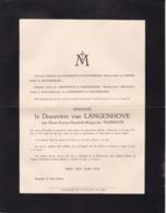 ALOSt AALST Marie-Pauline PAFFRATH Veuve Van LANGENHOVE 72 Ans 1931 Bruxelles Enterrée à Alost - Décès