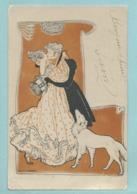 CPA Précurseur Illustrateur Alice Wanne - Couple Art Nouveau Chien Type Levrier Baiser - Voyagée 1905 - Autres Illustrateurs